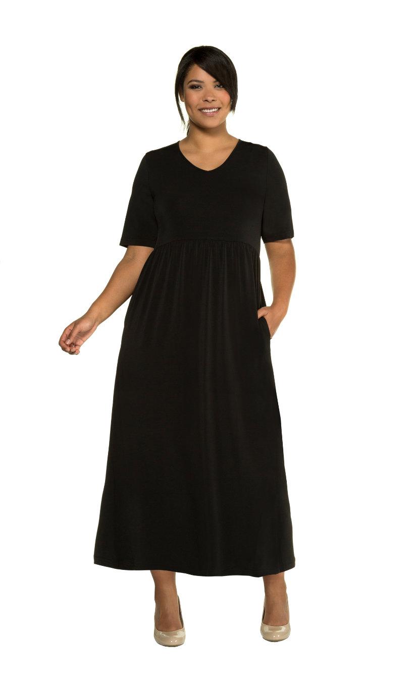 Ulla Popken jersey jurk - grote maten zwart