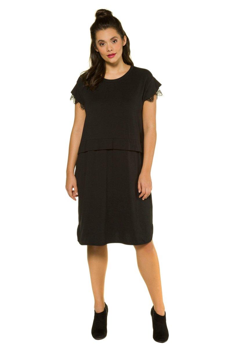 Kleid, Jersey, oversized, kurze Ärmel mit Spitze, Studio Untold - Große Größen jetztbilligerkaufen
