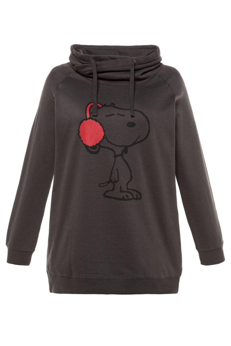 Sweatshirt, Snoopy-Motiv, Raglanärmel, weiter Stehkragen - Große Größen - broschei