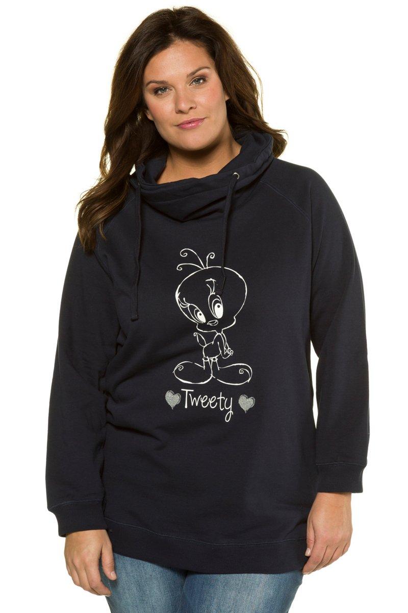 Sweatshirt, Tweety-Motiv, Raglanärmel, weiter Stehkragen - Große Größen jetztbilligerkaufen