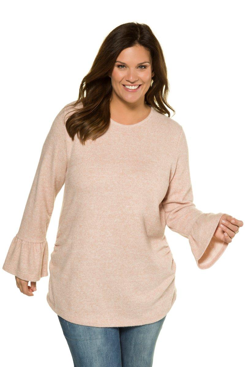 Sweatshirt, Volantärmel, Rundhalsausschnitt, elastische Taillenraffung - Große Größen jetztbilligerkaufen