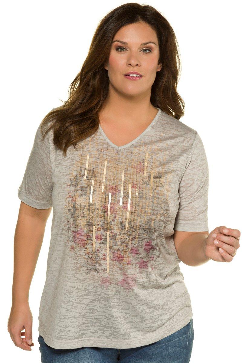 Shirt, Ausbrenner-Jersey, Classic, Pailletten-Streifen - Große Größen jetztbilligerkaufen