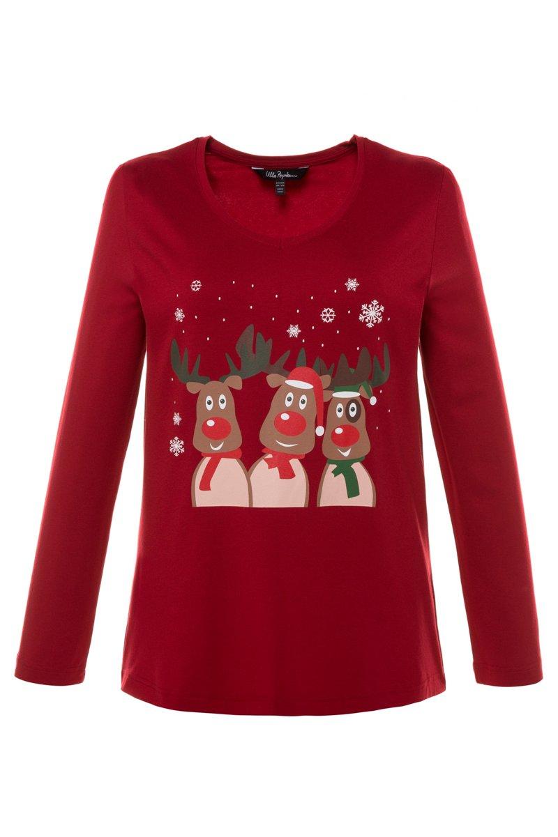 Shirt, winterlicher Print, A-Line, runder V-Auschnitt, reine Baumwolle - Große Größen jetztbilligerkaufen