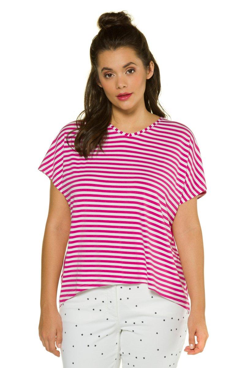 Shirt, Ringelmix, oversized, Halbarm, gerundeter Saum - Große Größen jetztbilligerkaufen
