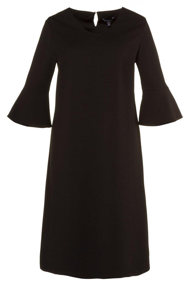 Kleid, Strukturjersey, 3/4-Ärmel mit Volant, A-Line - Große Größen jetztbilligerkaufen