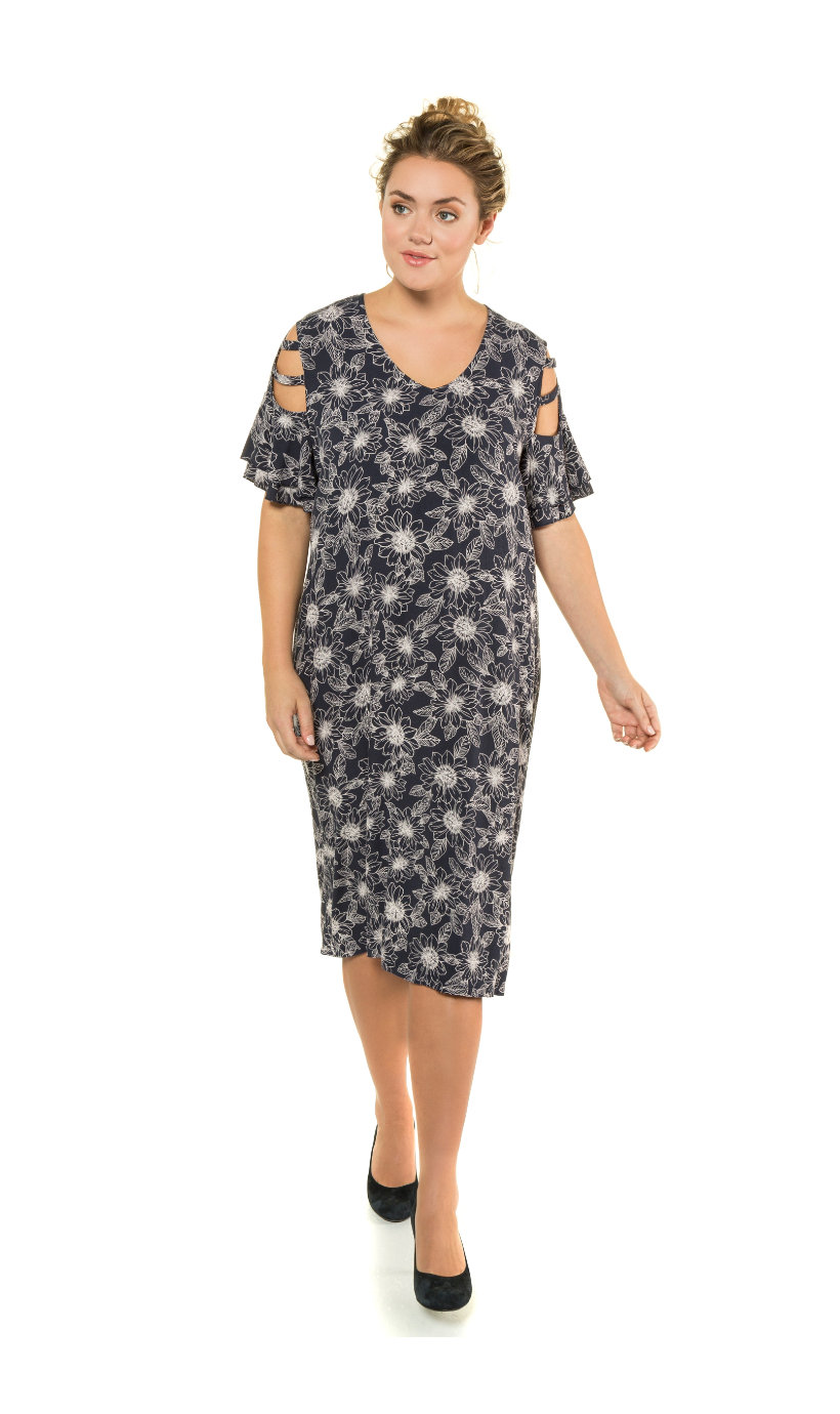 Ulla Popken jurk - grote maten nachtblauw