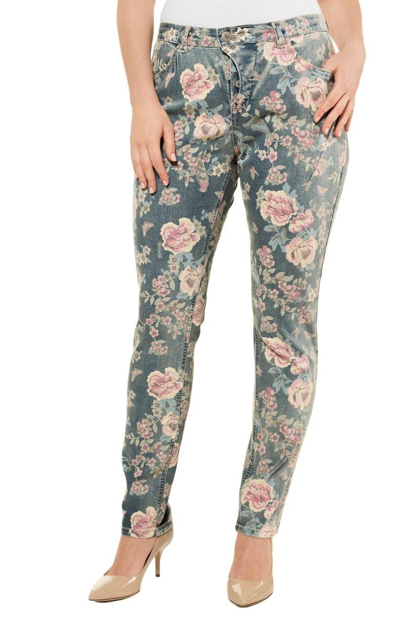 Ulla Popken Curvy-Jeans, Blütendruck, Ziernähte, Komfortbund - Große Größen