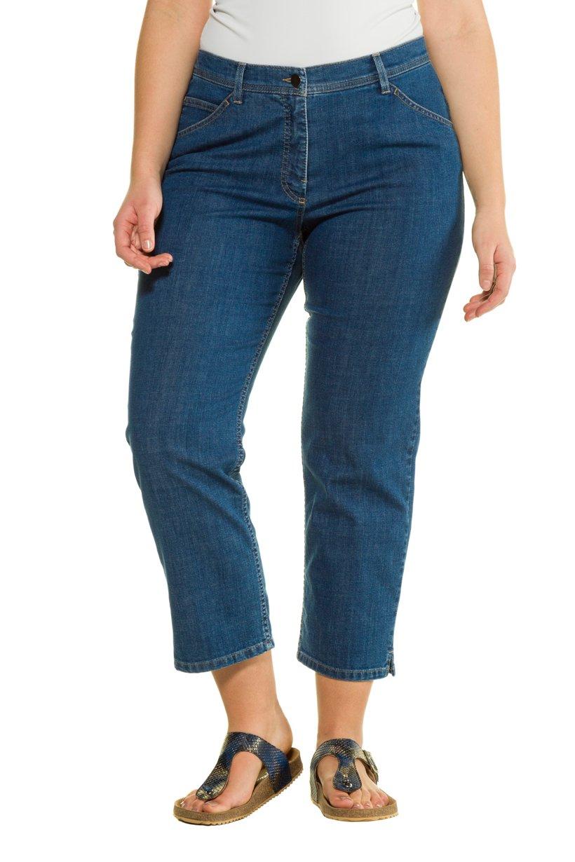 Ulla Popken 7/8-Jeans, Straight Fit, Stretchdenim, gerades Bein, PURE - Große Größen