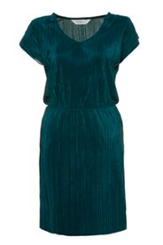 Ulla Popken Plissee-Kleid, V-Ausschnitt, elastische Taille, knielang - Große Größen
