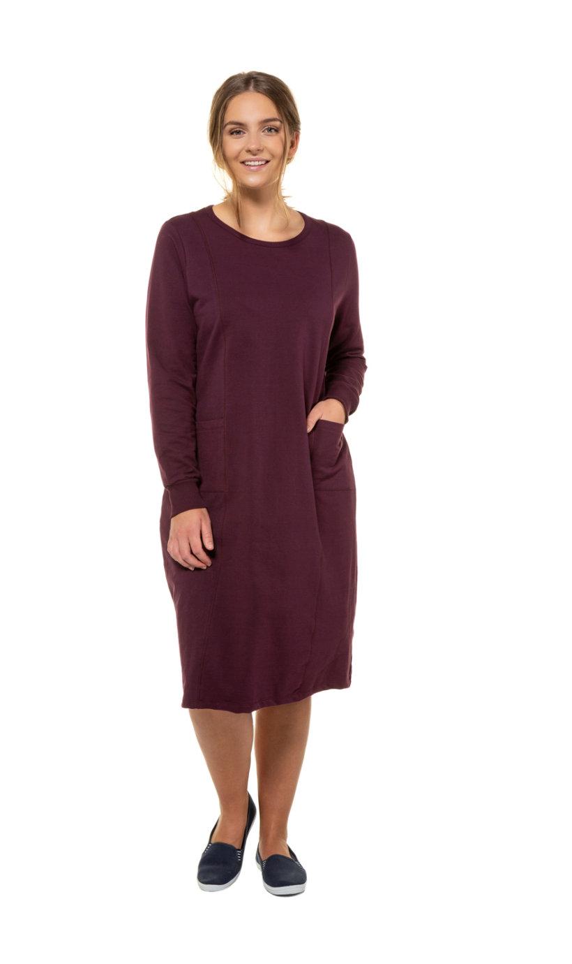Ulla Popken jurk, lichte a-lijn, 2 zakken - grote maten aubergine