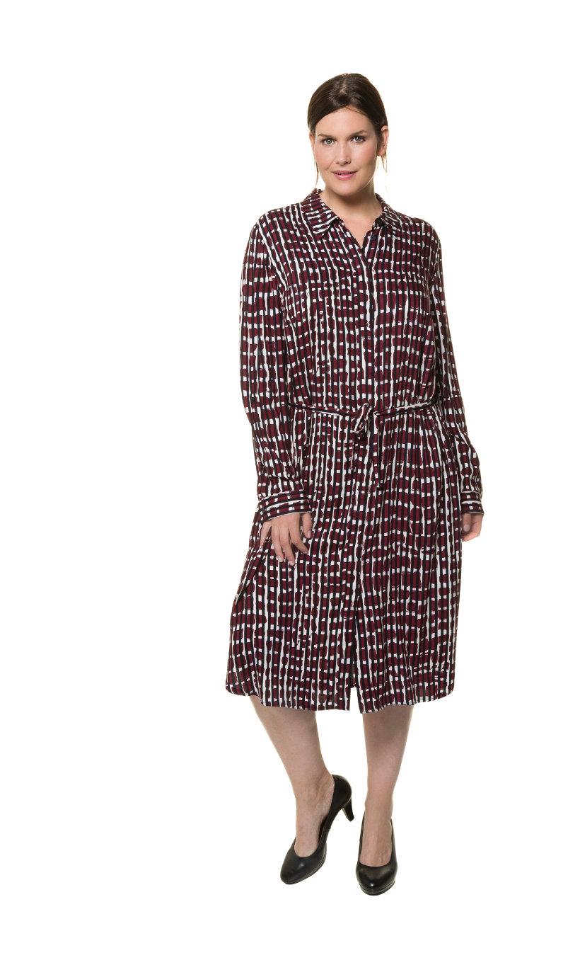 Ulla Popken jurk, recht model, blinde knopenlijst - grote maten multicolour