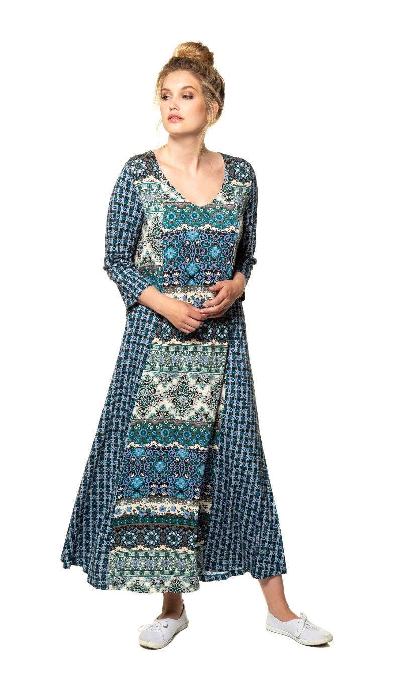 Ulla Popken jurk, a-lijn, wijde v-hals, 3/4 mouwen - grote maten donker turquoise