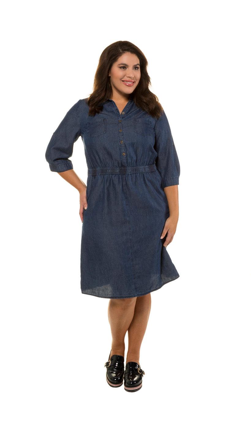 Ulla Popken jurk, overhemdkraag, 4 zakken, denim - grote maten blue denim