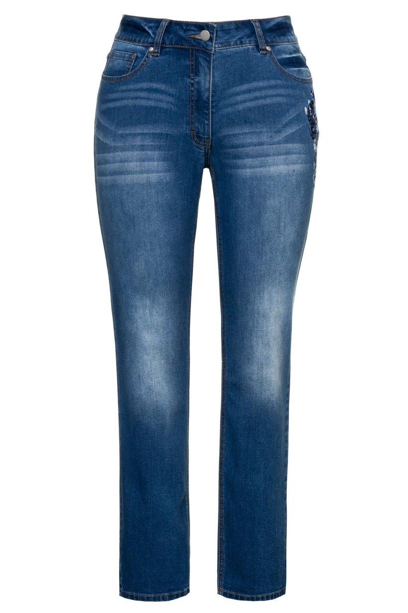 Ulla Popken Jeans Sammy, Stickerei, schmales Bein, 5-Pocket-Form - Große Größen