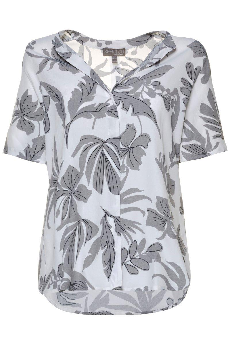 Bluse, florales Muster, Stehkragen, Druckknöpfe - Große Größen jetztbilligerkaufen