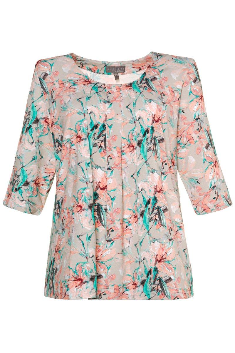 Druckshirt, farbenfrohes Design, A-Linie, Zierfalten, selection - Große Größen jetztbilligerkaufen