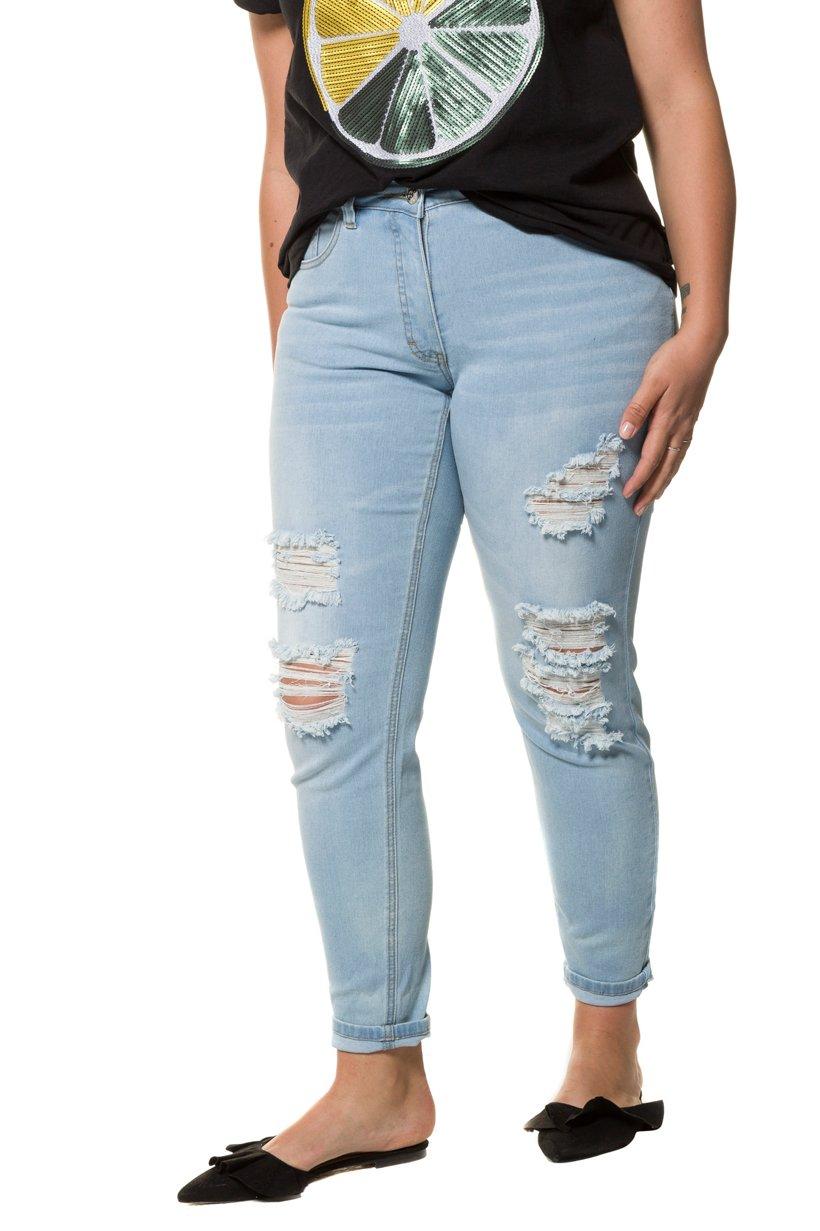 Ulla Popken Skinny, Jeans, destroyed, 5-Pocket, schmale Passform - Große Größen