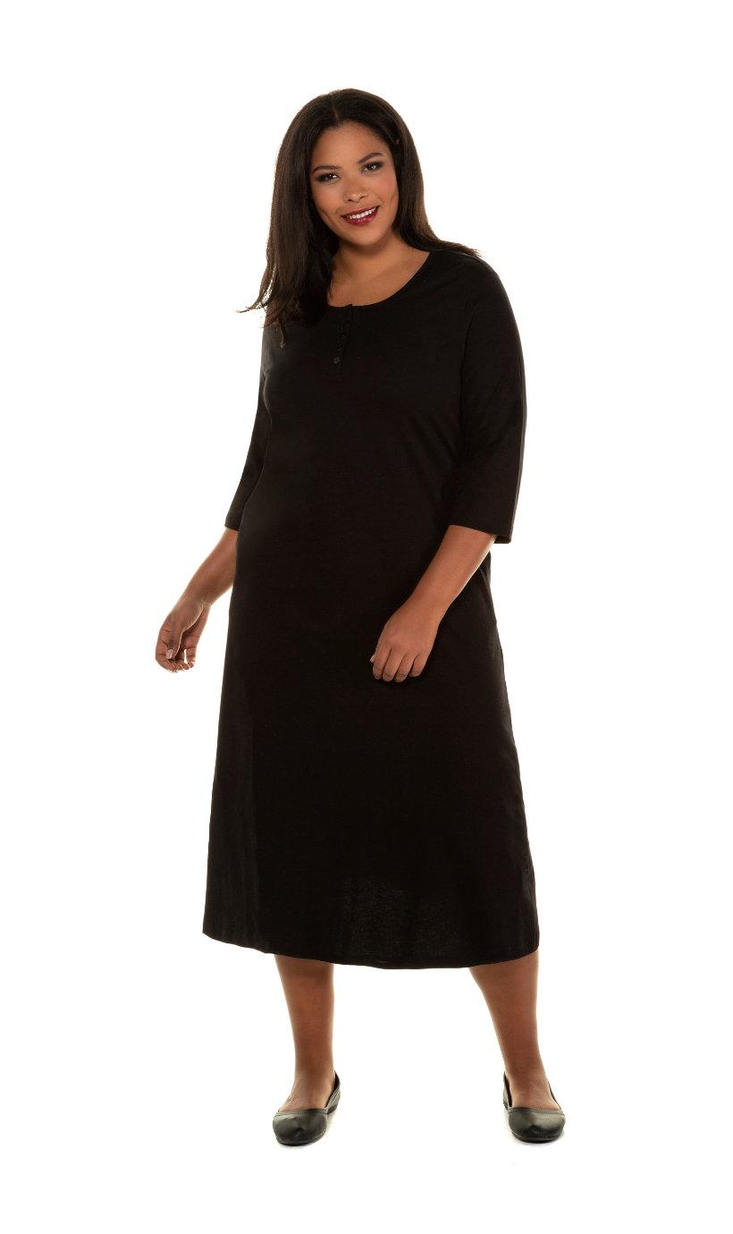 Ulla Popken jurk, a-lijn, knopenlijst, 3/4 mouwen - grote maten zwart