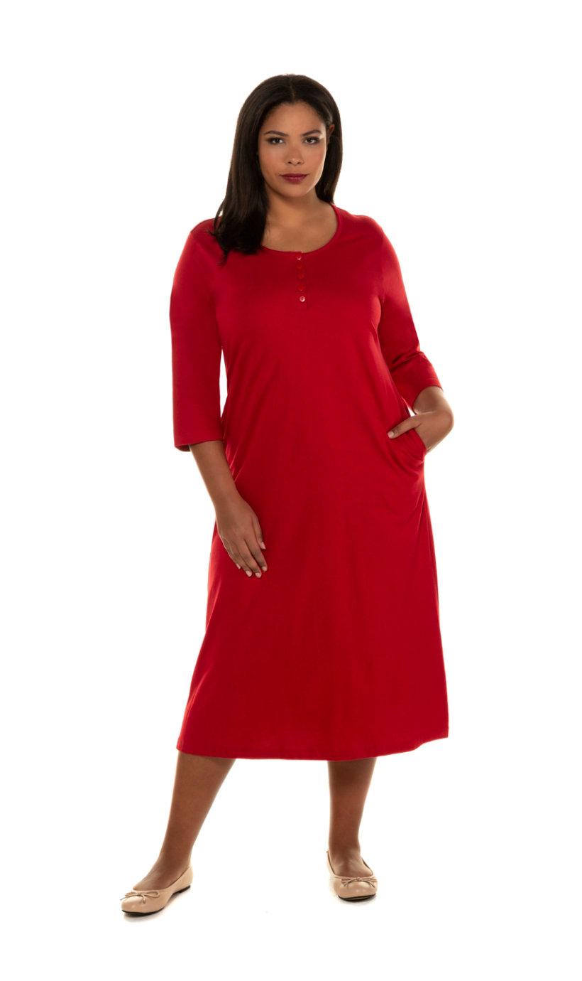 Ulla Popken jurk, a-lijn, knopenlijst, 3/4 mouwen - grote maten rood