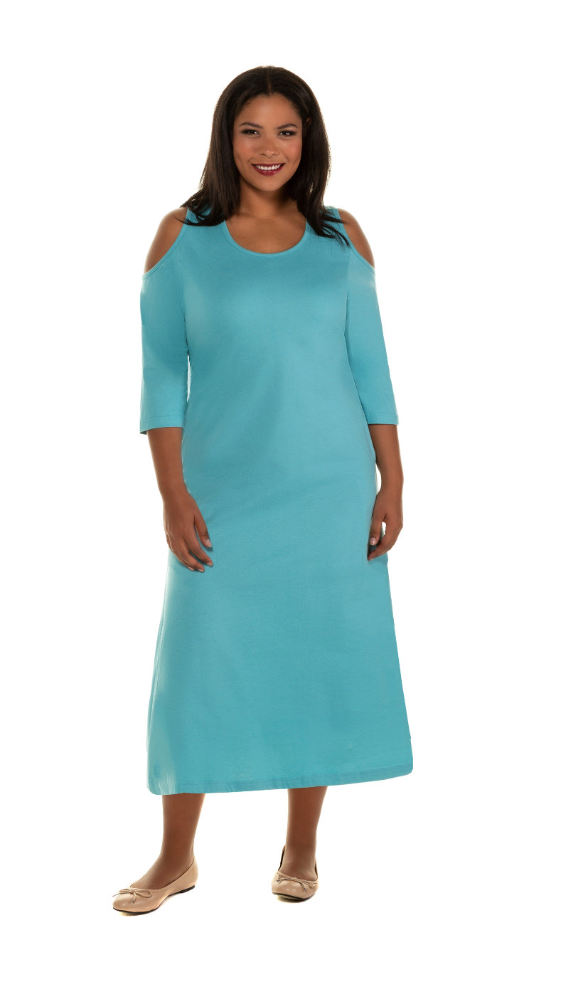 Ulla Popken jurk, a-lijn, schouder cut-outs, 3/4 mouwen - grote maten turquoise