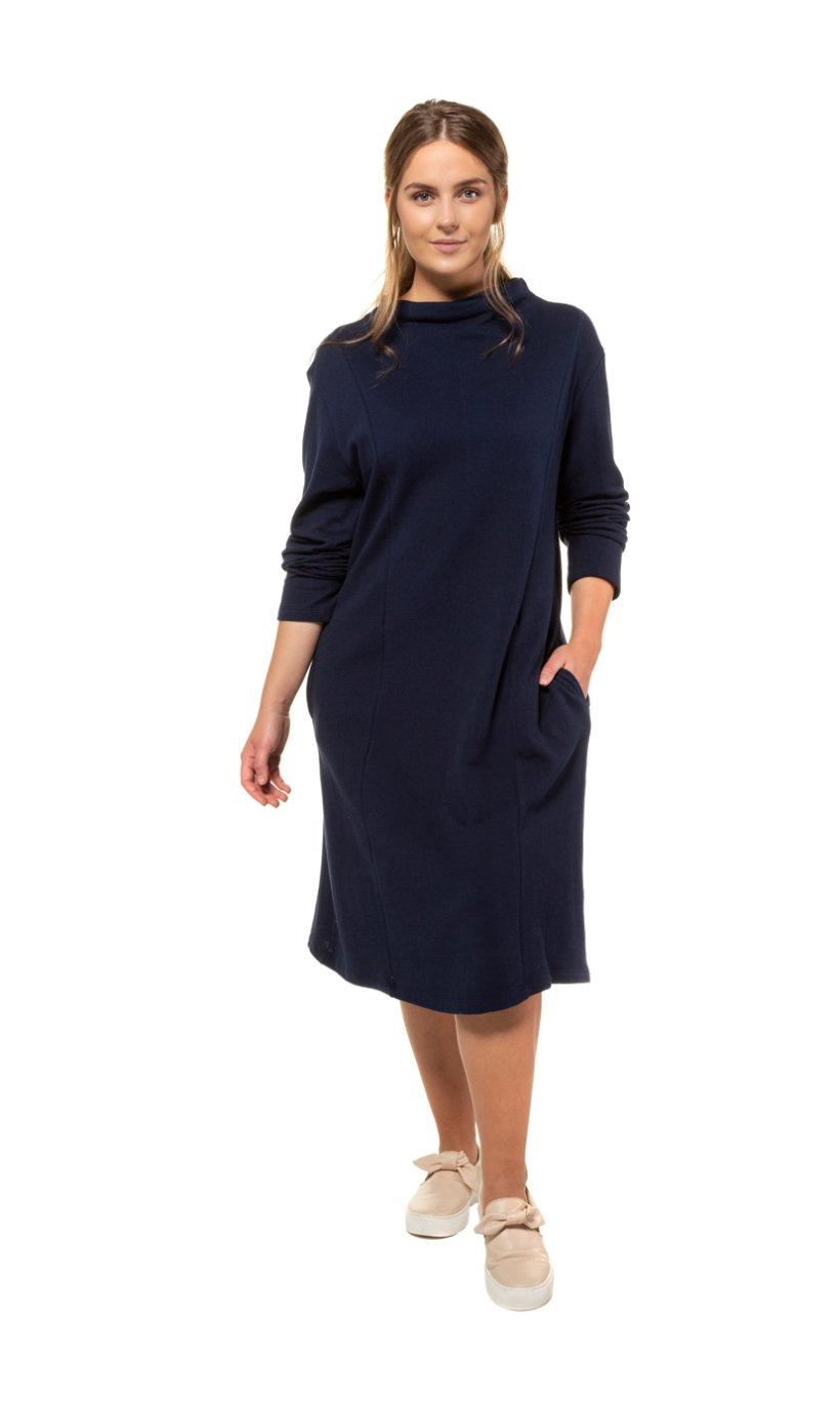 Ulla Popken jurk, piqué, aangeknipte kraag - grote maten donkerblauw