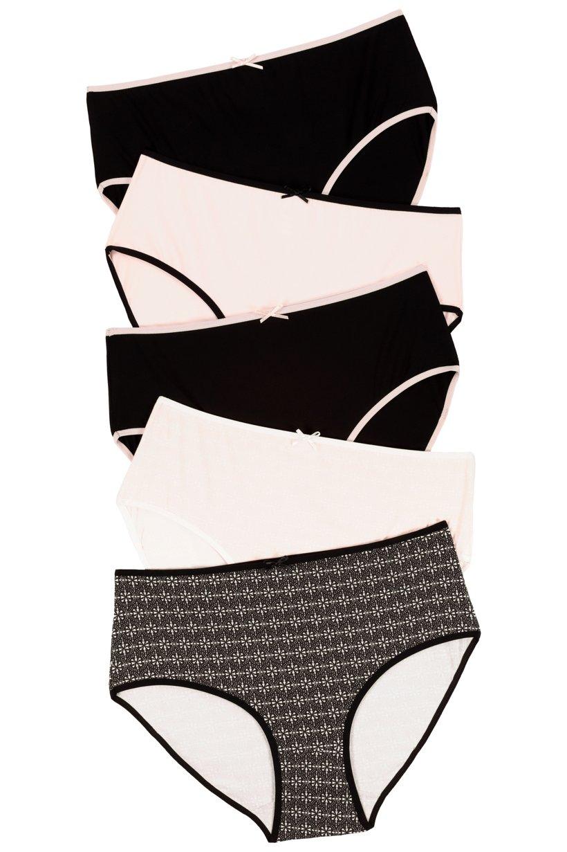 Ulla Popken Slips, 5er-Pack, Grafikmuster / schwarz / weiß - Große Größen