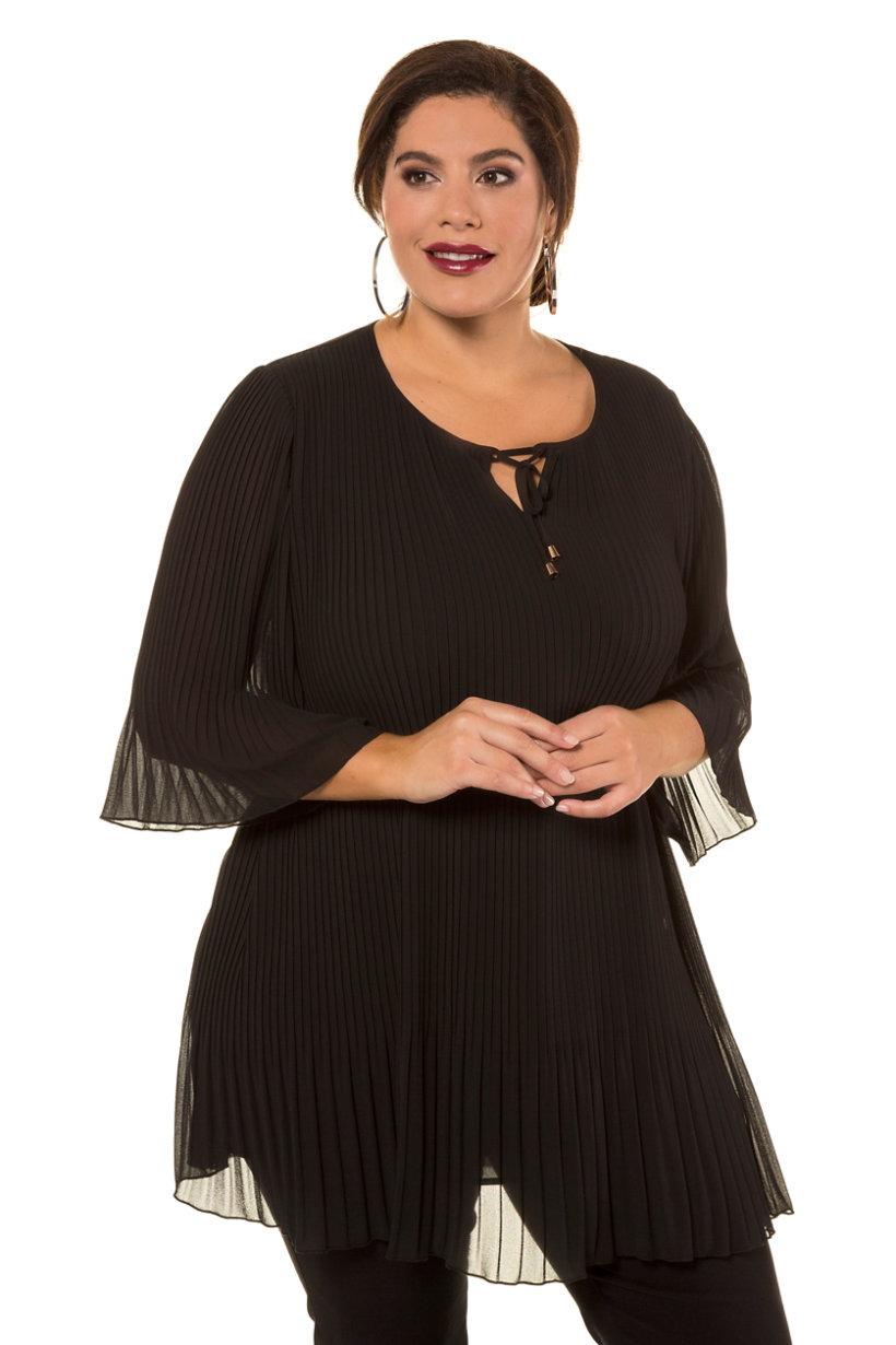 Tunique longue, ligne A, opaque, tissu plissé, lien - Grande Taille