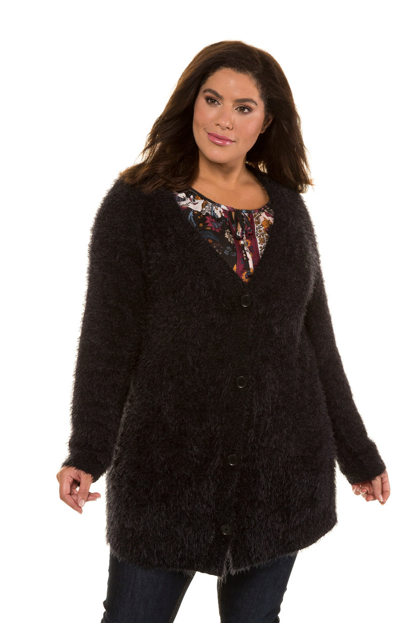Cardigan, maille fancy, boutons, poches - Grande Taille