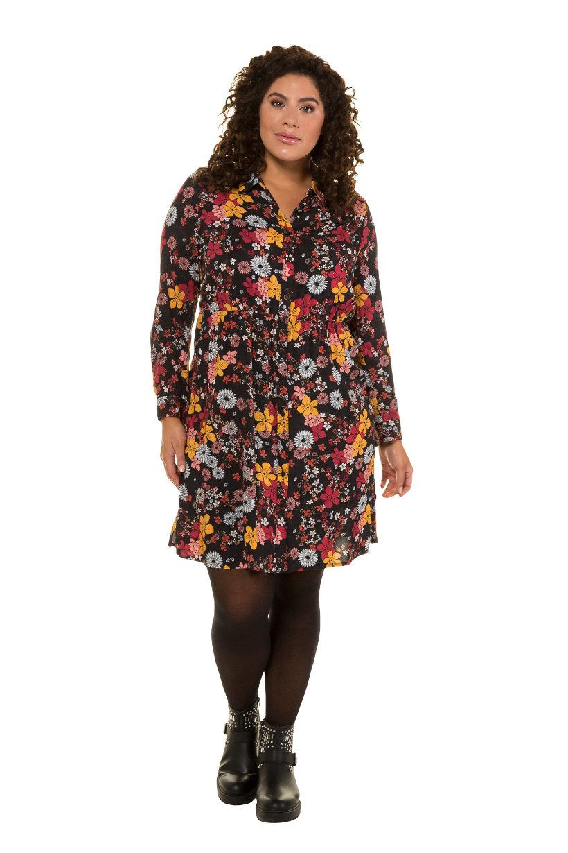 Robe chemise, imprimé fleuri, taille élastiquée - Grande Taille