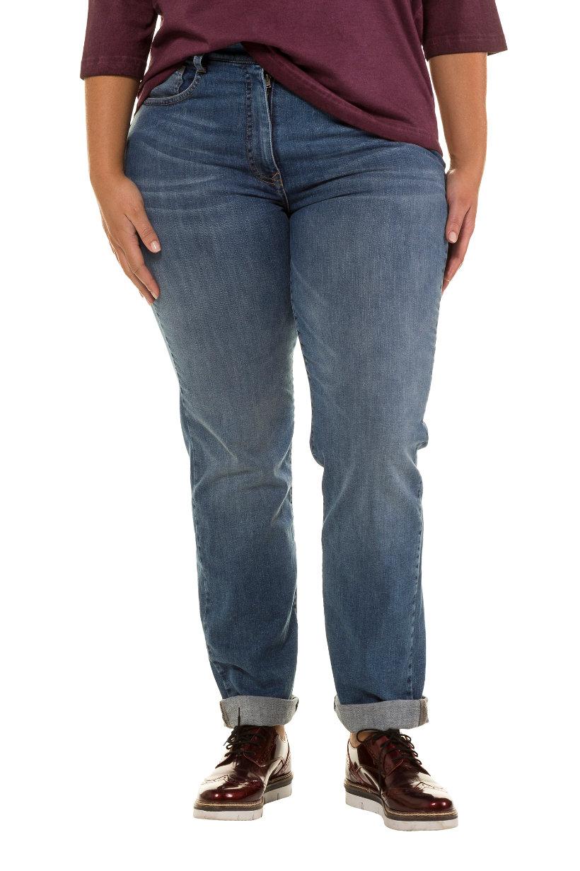 Jean, Boyfriend, look délavé, 5 poches - Grande Taille