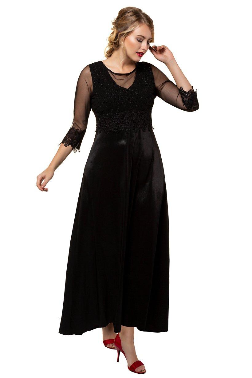Robe du soir, dentelle, top opaque, jupe taffetas - Grande Taille