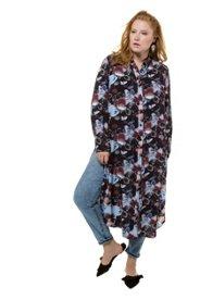 98410472fb3c Bluse, Longform, Blütenmuster, lange Seitenschlitze, Langarm