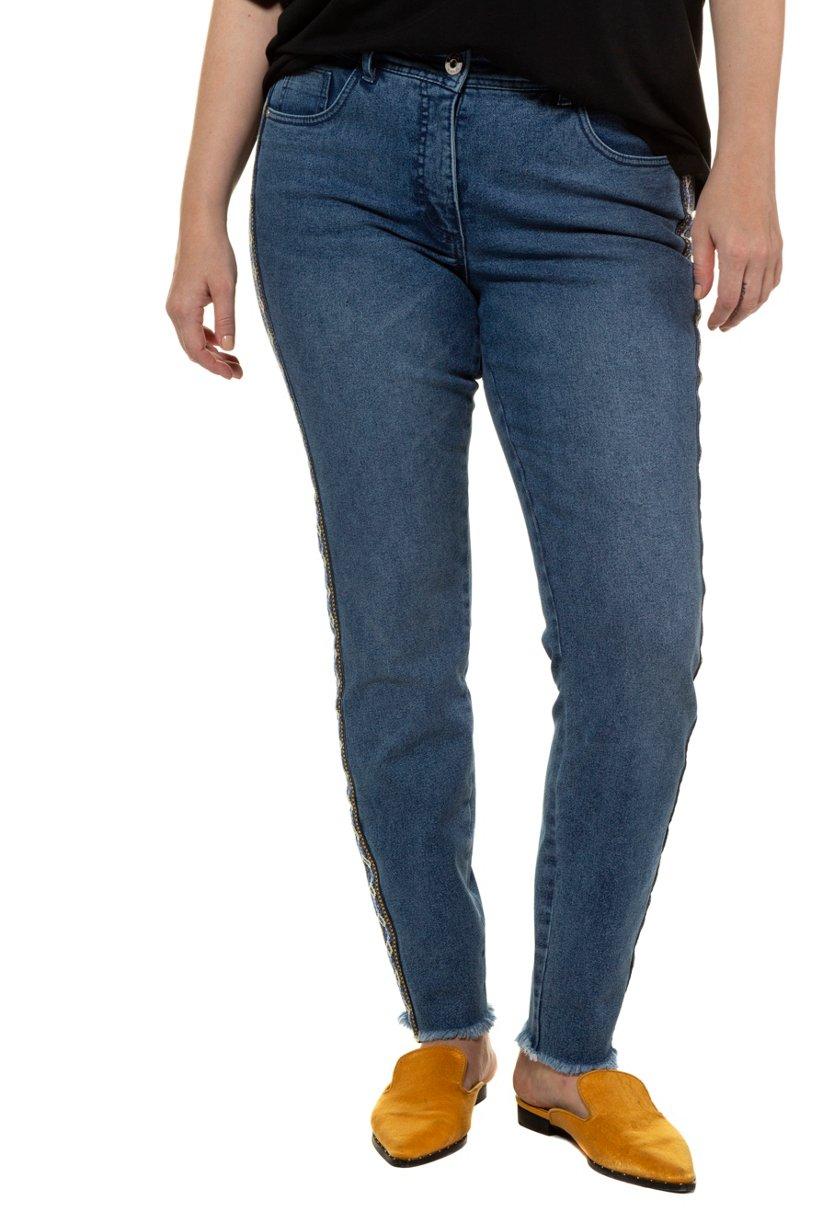 Ulla Popken Skinny, Jeans, gemusterter Galonstreifen, 5-Pocket - Große Größen