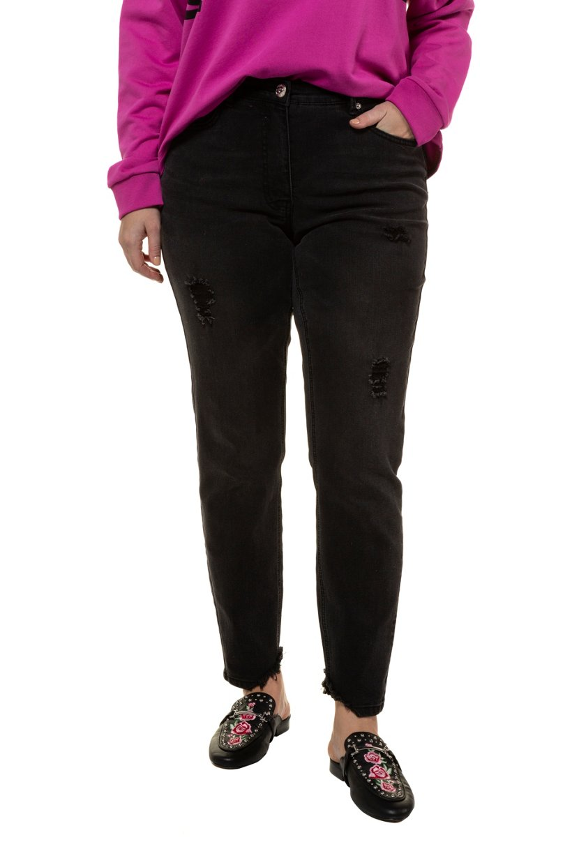 Ulla Popken Skinny, Jeans mit Fransen und Destroy, 5-Pocket, schmale Form - Große Größen