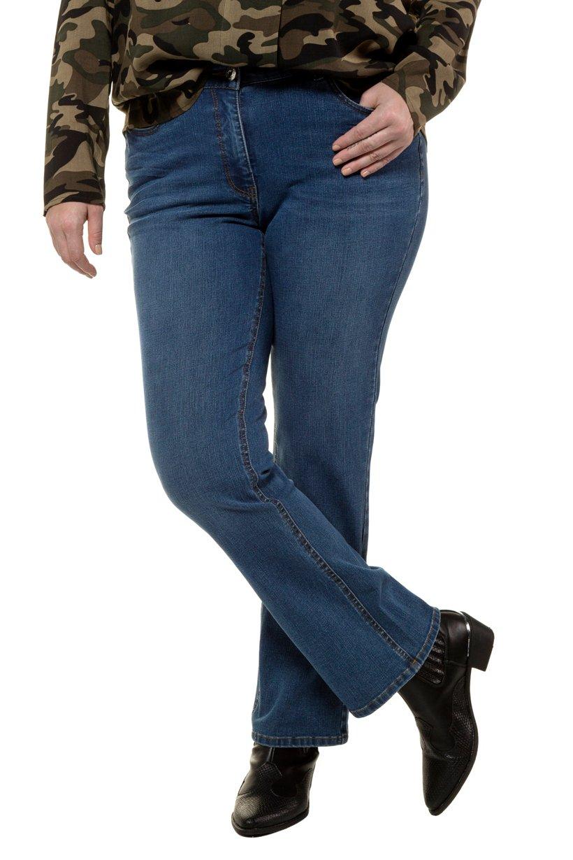 Ulla Popken Bootcut-Jeans, schmal mit ausgestelltem Saum, 5-Pocket - Große Größen