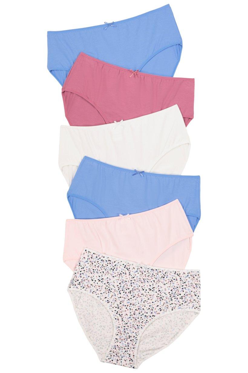 Ulla Popken Slips, 5+1 gratis, Punkte / weiß / rosa / blau - Große Größen
