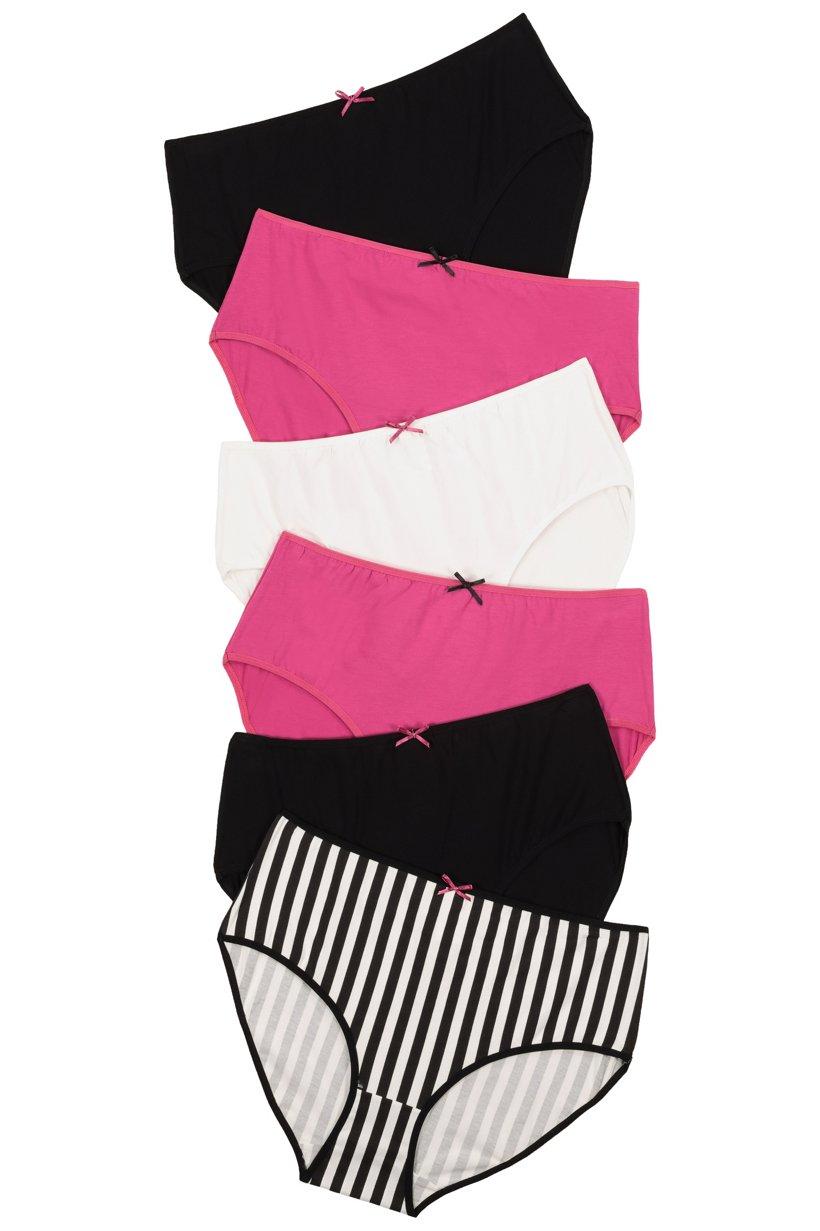 Ulla Popken Slips, 5+1 gratis, Streifen / schwarz / weiß / pink - Große Größen