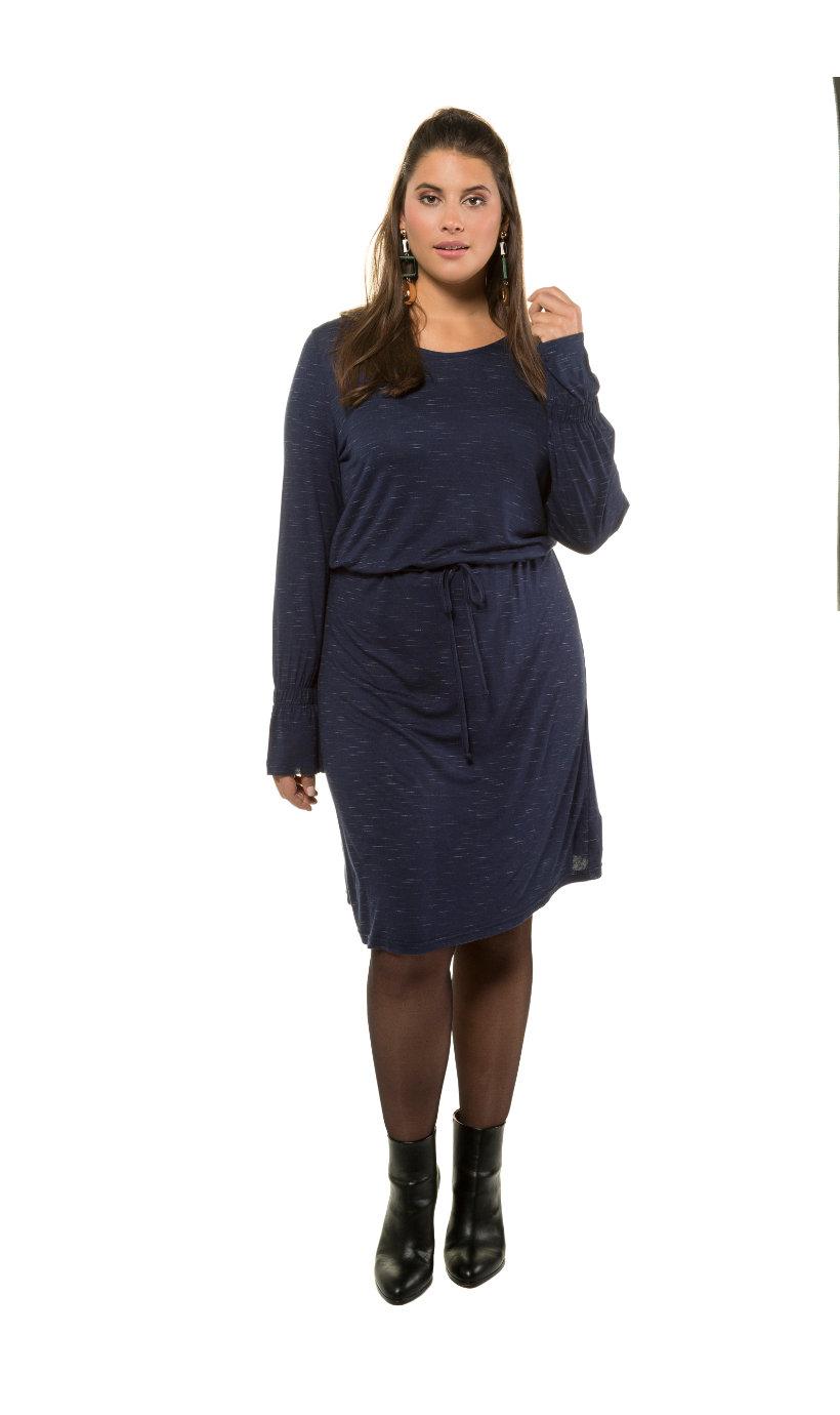 Ulla Popken Kleid, Jersey, lange Statement-Ärmel - Große Größen in tiefblau ffeb1299b4