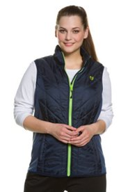 Thermal Quilted Contrast Zip Front Stand Up Collar Vest