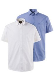 2 Pack Short Sleeve Shirts - Blue White Comfort fit