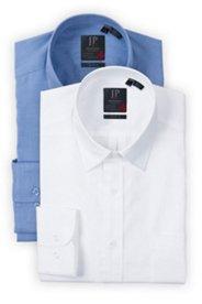 Businesshemden, 2er-Pack, weiß, blau, Comfort Fit
